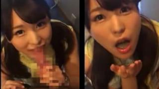 人妻がトイレでフェラチオして口内射精する素人のスマホ撮影動画