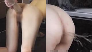 アナルを拡張され大量に浣腸を注入されるドM女の素人スカトロ動画