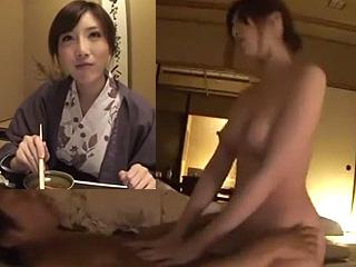 温泉デートで浴衣姿の彼女とハメ撮りした素人のセックス動画
